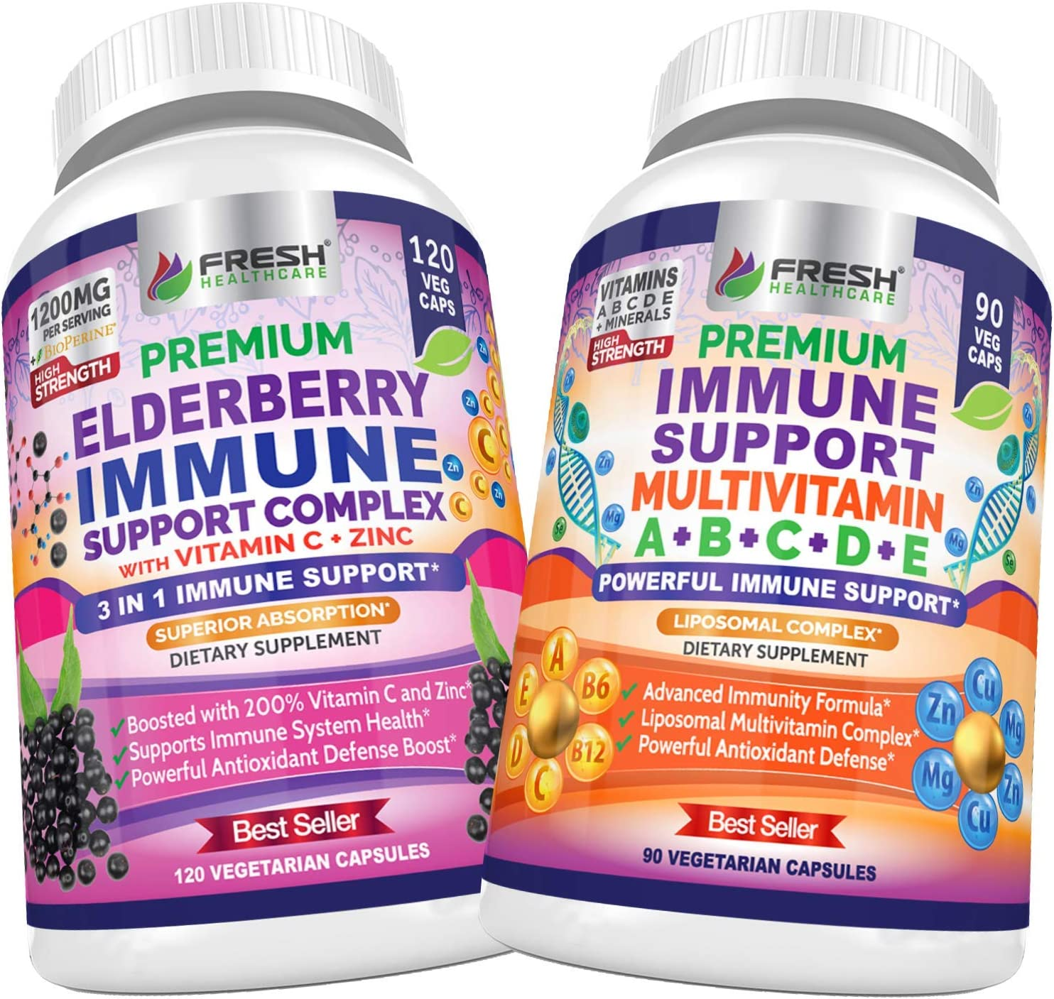 Elderberry Immune Support and Immune Support Multivitamin - Bundle