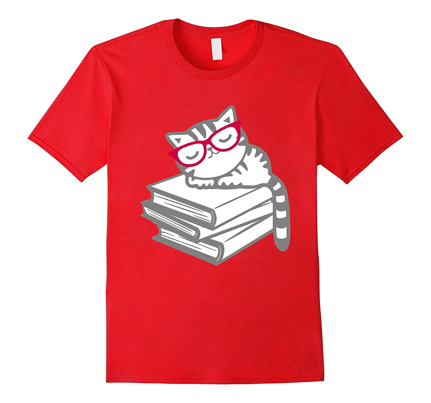 Cat Book Nerd Reader with Glasses Cute Geek Funny T-Shirt-PL