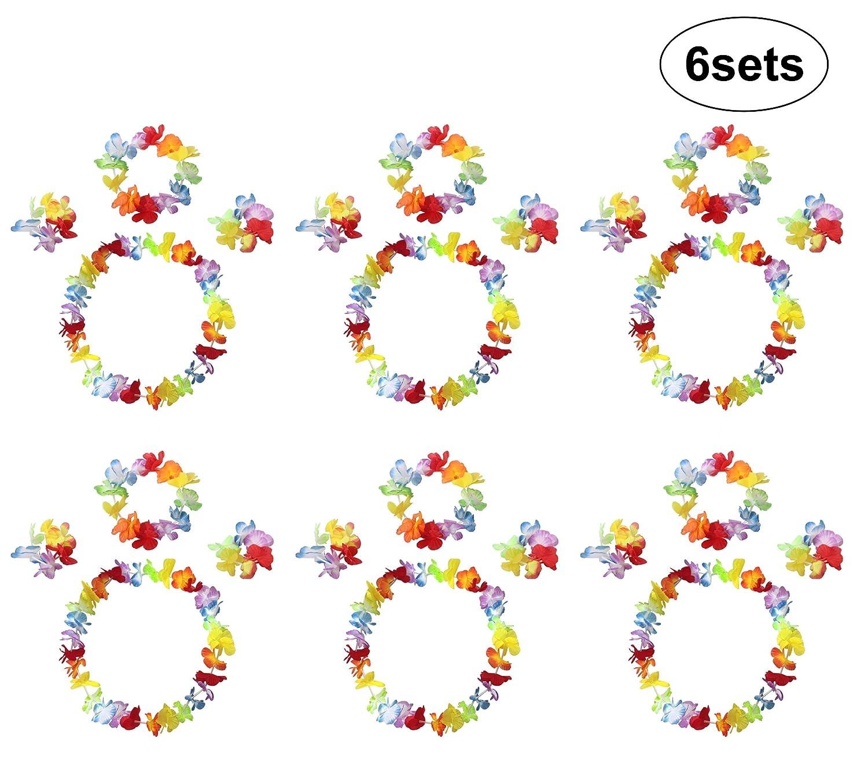 InnoBase Flores Hawaiana Guirnalda Collar Leis Set de Disfraces de Flores Pulsera Diadema Fuentes de la decoraci/ón de la Tela del para ni/ñas Mujer Fiesta Hawaiana Luau Accesorio Fiesta Hawaii