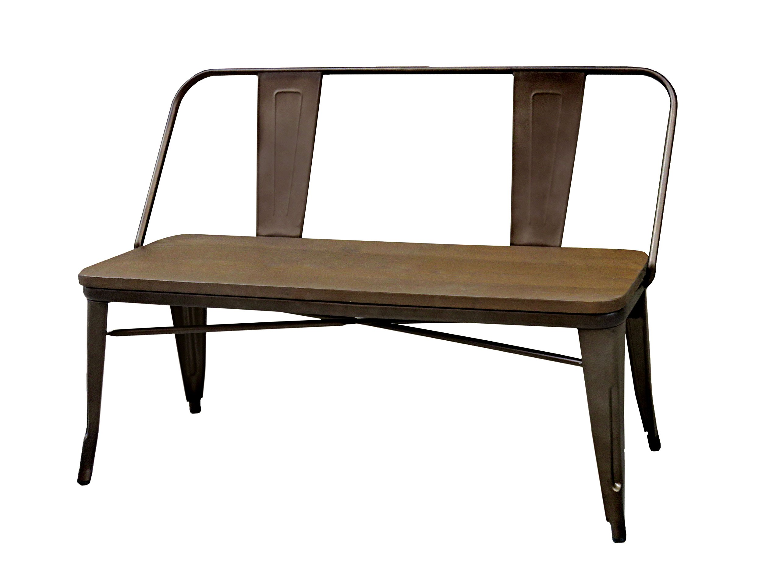 HOMES: Inside + Out IDF-3529BN Dark Bronze Trevin Industrial Bench, Natural Elm