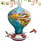 Grateful Gnome Hummingbird Feeder - Hand Blown Glass - Blue Egg with Flowers - 36 Fluid Ounces