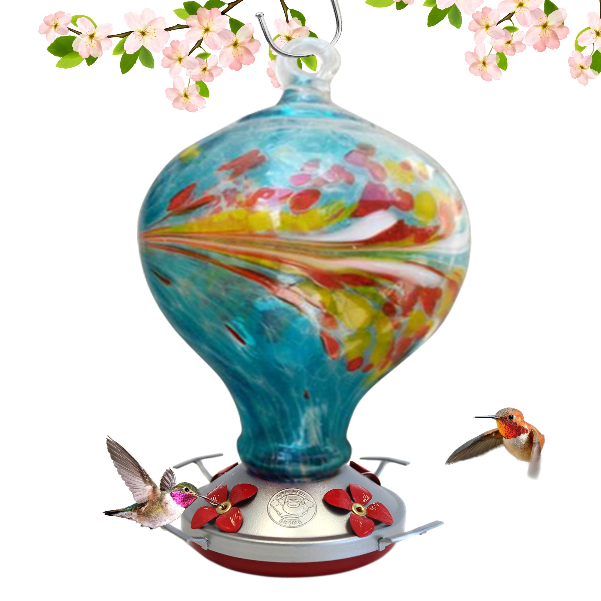 Grateful Gnome - Hummingbird Feeder - Hand Blown Glass - Blue Egg with Flowers - 36 Fluid Ounces by Grateful Gnome