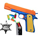 Colt 1911 Toy Gun with Soft Bullets, Ejecting Magazine, and Pull Back Action, M1911 Colt 45 with Bonus Pack of Metal Sheriff Badge and 5 Extra Bullets