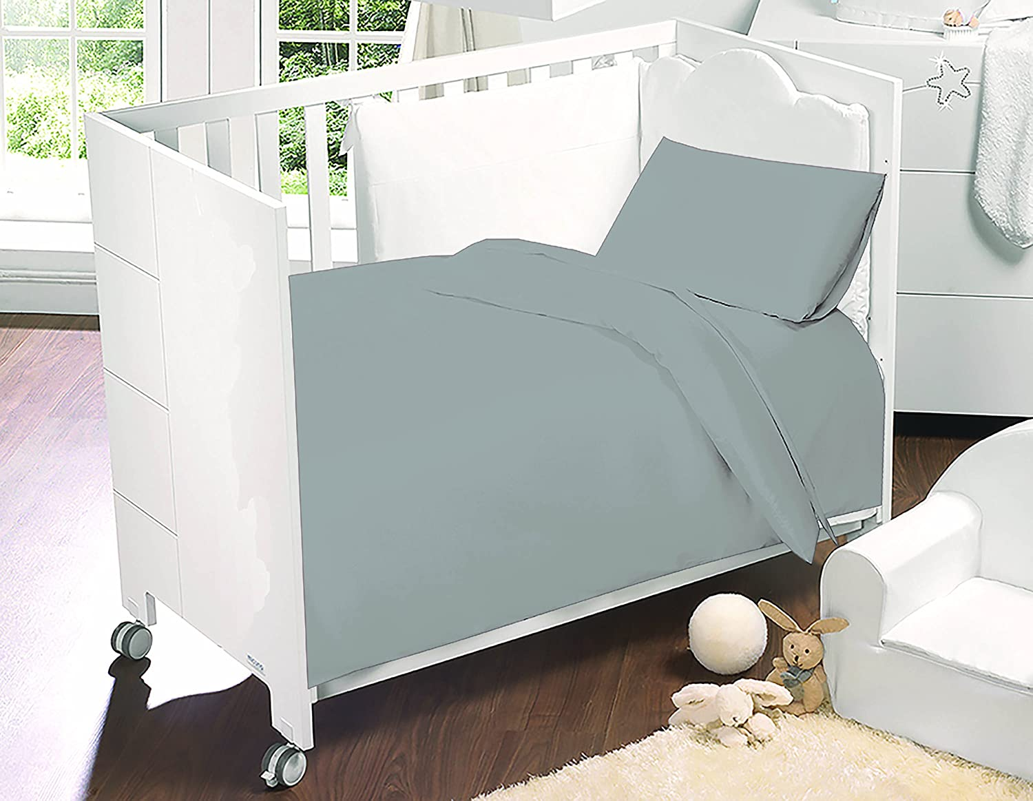 Love2Sleep GREY COT BED LUXURY EGYPTIAN COTTON COMPLETE BEDDING TODDLER SET: DUVET COVER , PILLOWCASE & FITTED SHEET