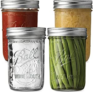 Ball Wide Mouth Mason Jars (16 oz/Capacity) [4 Pack] with Airtight lids and Bands. For Canning, Fermenting, Pickling, Decor - Freezing, Microwave And Dishwasher Safe. Bundled With SEWANTA Jar Opener