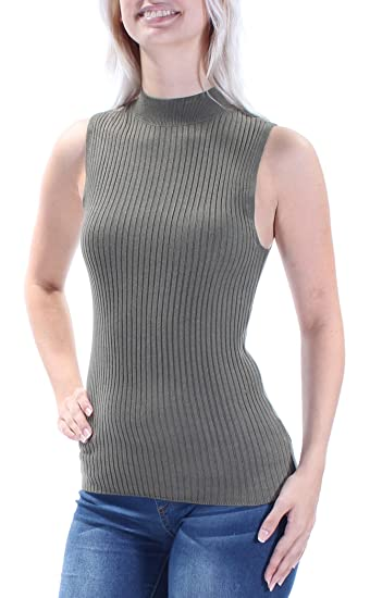959a9c029c35c9 Image Unavailable. Image not available for. Color  Bar III  40 Womens New  1402 Green Sleeveless Crew Neck ...