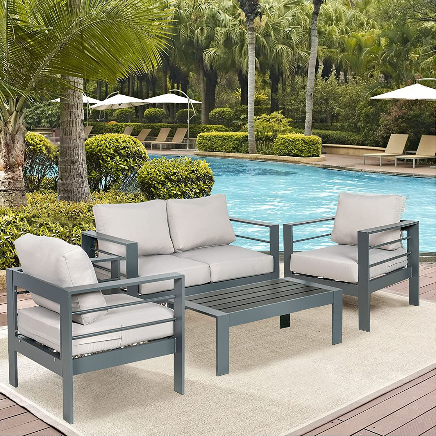 MORCOE Outdoor Patio 4 Piece Outdoor Patio Furniture Aluminum Conversation Sets, Outdoor Deep Seating Conversation Set, 1 Loveseat, 2 Armrest Sofa Chairs, 1 Coffee Table(Light Grey)