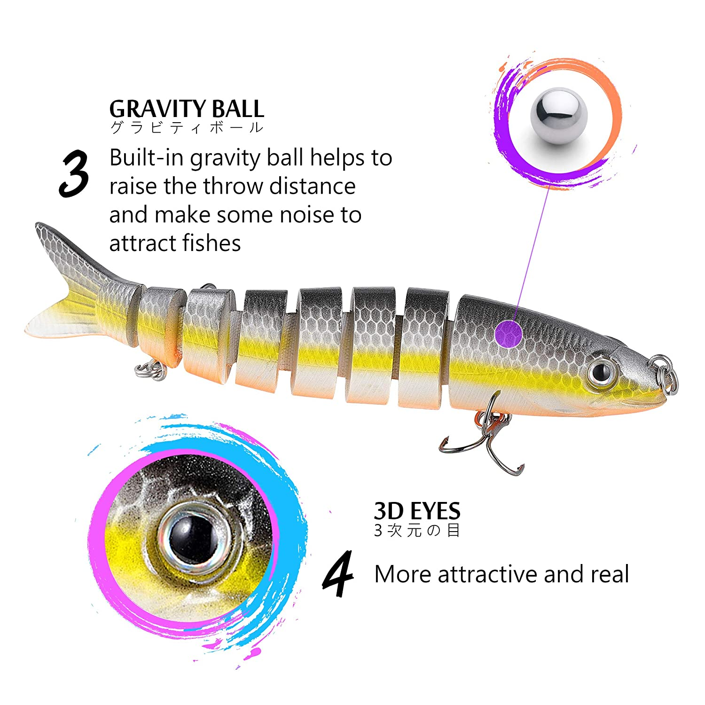 TRUSCEND Fishing Lure for Bass 4.9 Multi Jointed Swimbait Slow Sinking Hard Lure Glidebait Fishing Tackle Kit Lifelike