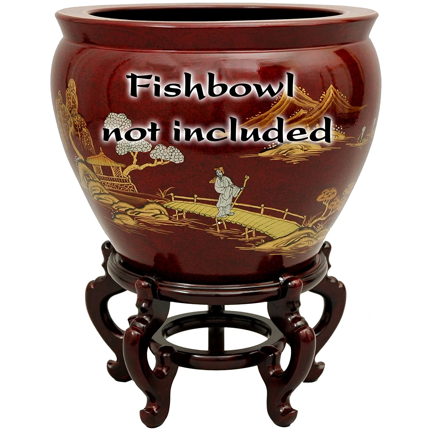 Oriental Furniture Rosewood Fishbowl Stand – Size 15.5 in. Base Diameter