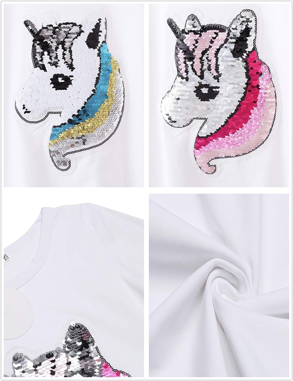 Girls Cotton Dress Short /& Long Sleeves Casual Summer Flip Sequin Unicorn T-Shirt Dresses