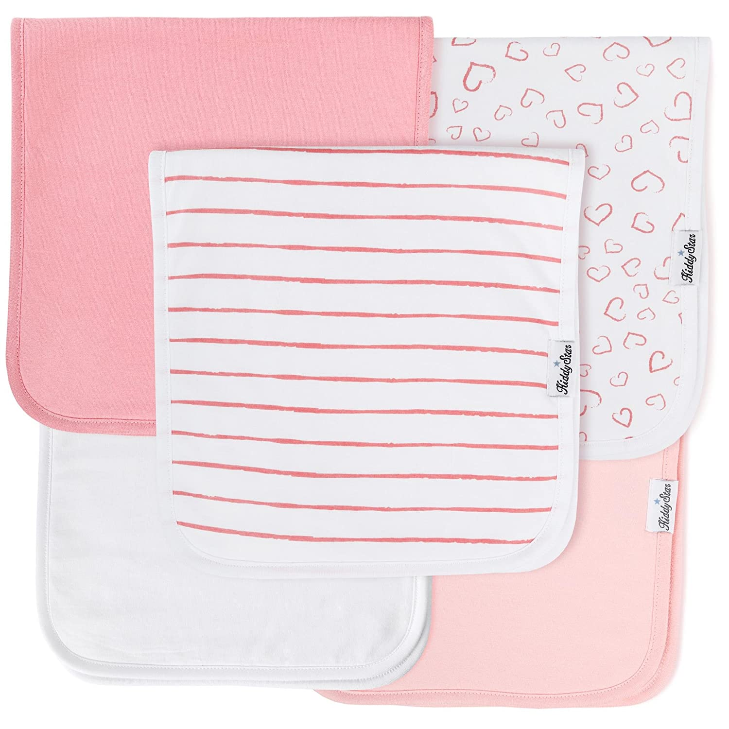 5-Pack Baby Burp Cloths for Girls, 100% Organic Cotton, Large 21