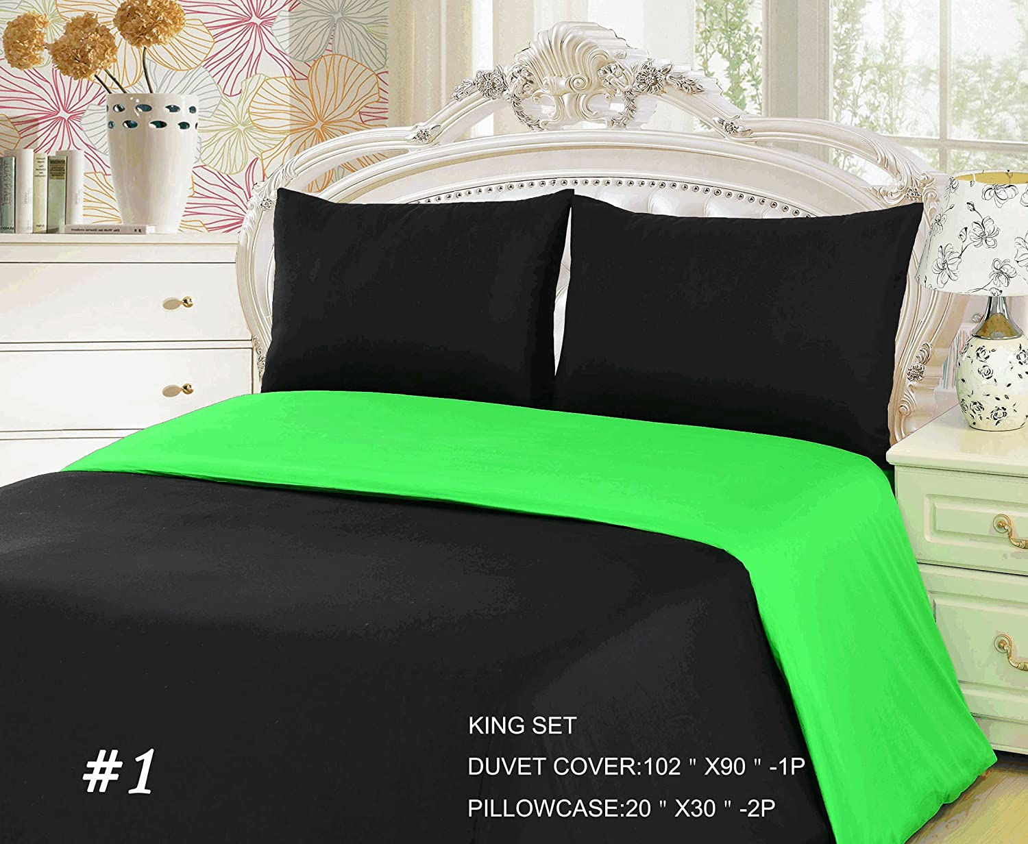Amazon.com: Tache 3 Piece 100% Cotton Reversible Solid Lime Green And Black  Duvet Cover Set, King: Home U0026 Kitchen