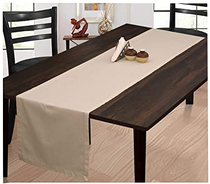 Ramanta Home Farmhouse Table Runner 90 Inch Cotton Flax Fabric With  Hemstitched Detailing,Decorative Table