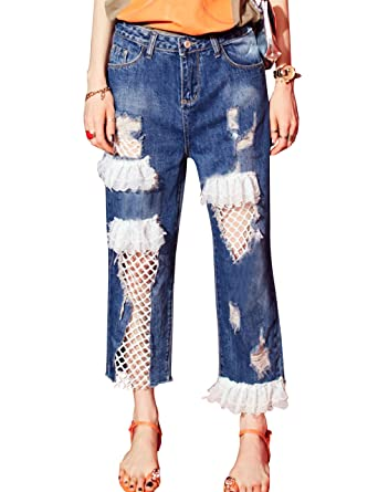 9226e352bb07e3 Elf Sack Women's Boyfriend Jeans Stylish Lace Pants Loose Ripped Distressed  Casual Holes Trendy Jeans,