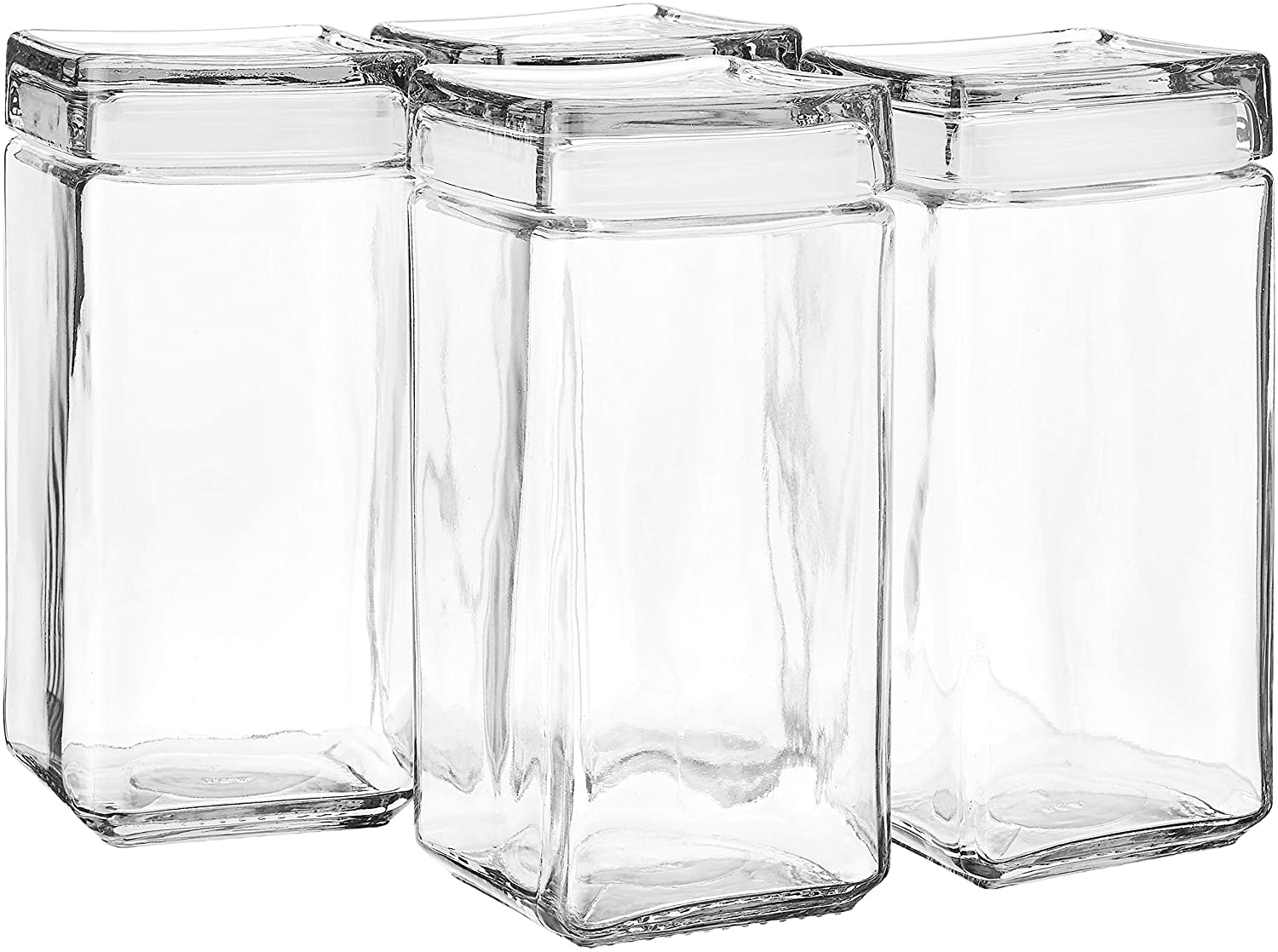 Anchor Hocking 2-Quart Stackable Jars with Glass Lids, Set of 4, Clear - 85589R
