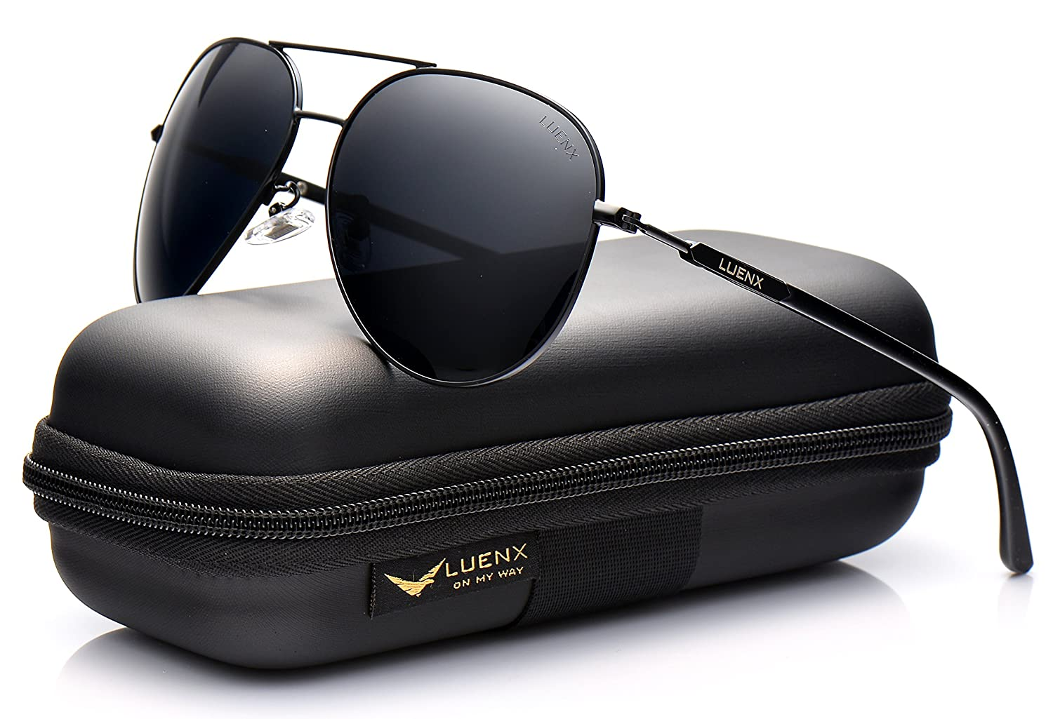 dede79460af2a LUENX Mens Sunglasses Polarized Womens with Case - UV 400 Protection Black  Lens Black Frame 60mm  Amazon.co.uk  Clothing