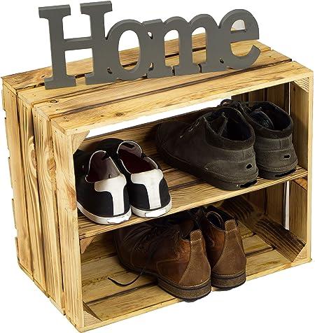 Kistenkolli Altes Land D/&S Vertriebs Lot de 3 caisses /à Chaussures en Bois ignifug/ées avec 3 /étag/ères pour 12 Paires de Chaussures Dimensions 50 x 40 x 30 cm