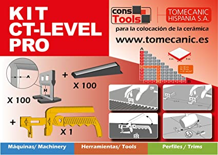 Sistema Nivelación Baldosas Kit 100 cuñas + 100 clips + Tenaza. Para usar con baldosas