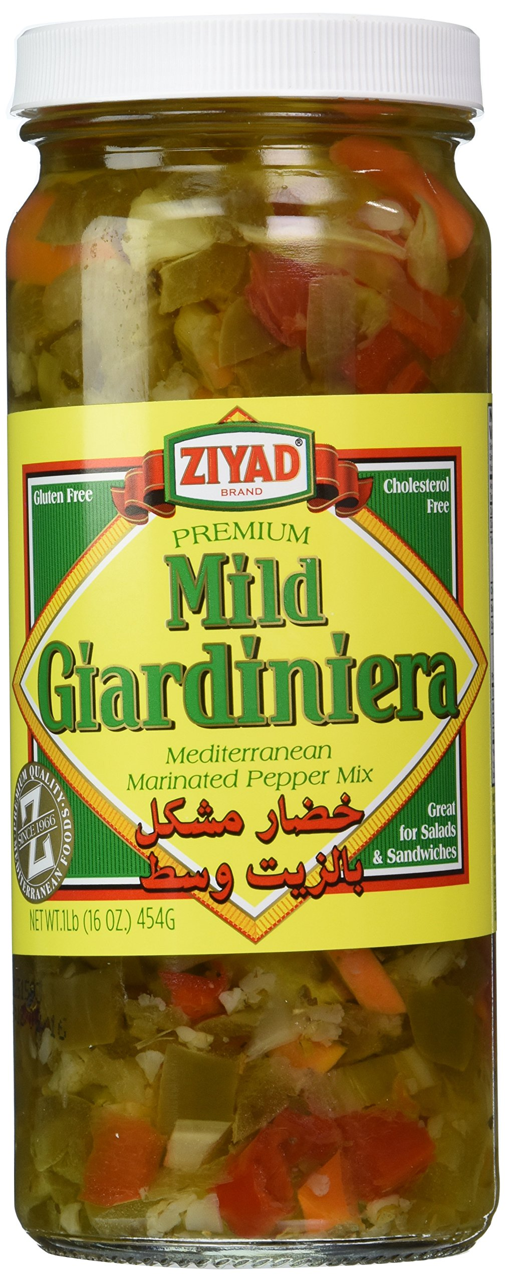 Ziyad Giardiniera Hot Mediterranean Peppers Mix, 32 OZ (Mild, 16 Ounce)