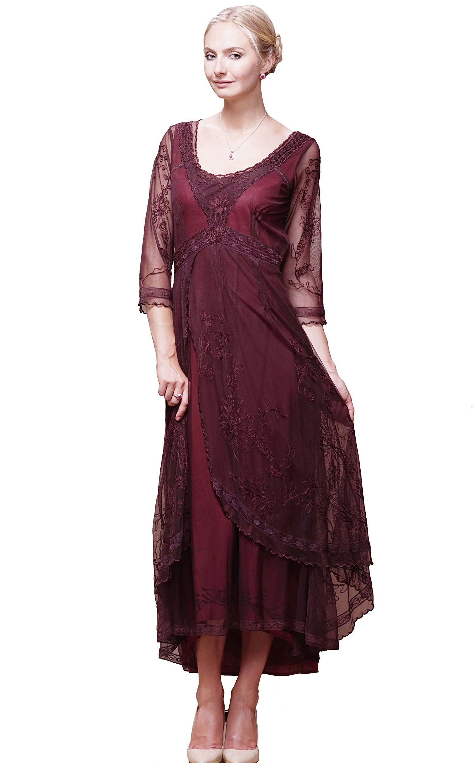 Nataya 40163 Women's Downton Abbey Vintage Style Wedding Dress in Ruby (L)