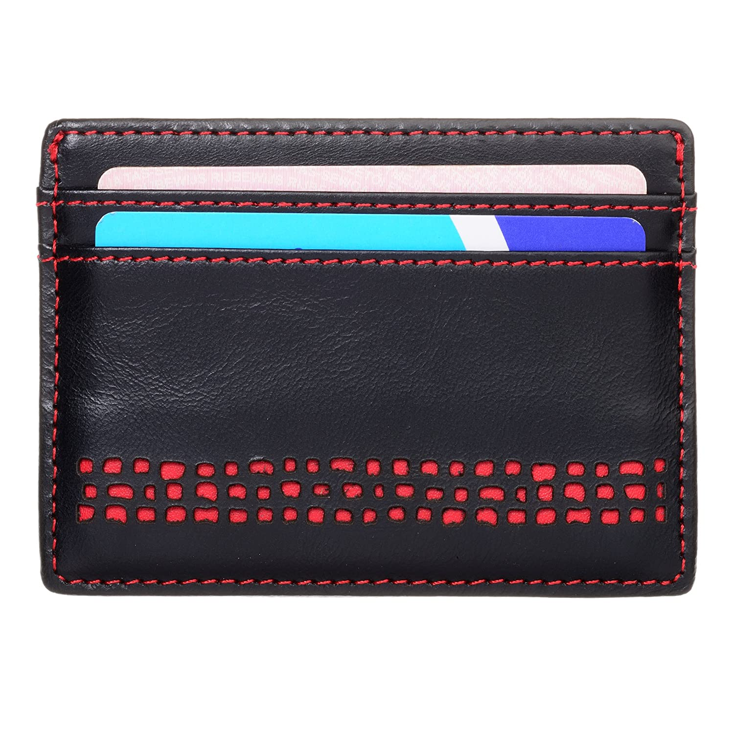 Genuine Leather Mens Credit Card Holder. RFID Blocking. 5 Pockets. Slim Design. The Pecu by Ed Hicks in Vintage Black Real Leather with Red Detailing. Pecu Leather Mens Credit Card Holder
