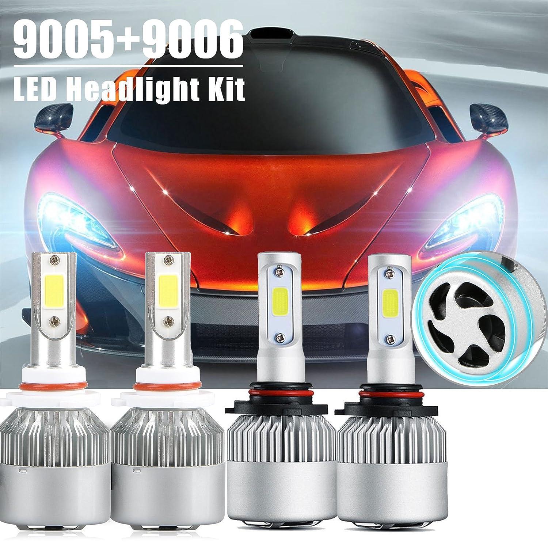 9005 9006 Combo Led Headlight Kit, LinkStyle 2 Sets 9005 HB3 9006 HB4 CREE LED Headlight Kit Waterproof 6500K Cool White 8000Lumens COB Chips Fog Light High & Low Beam Light Bulbs