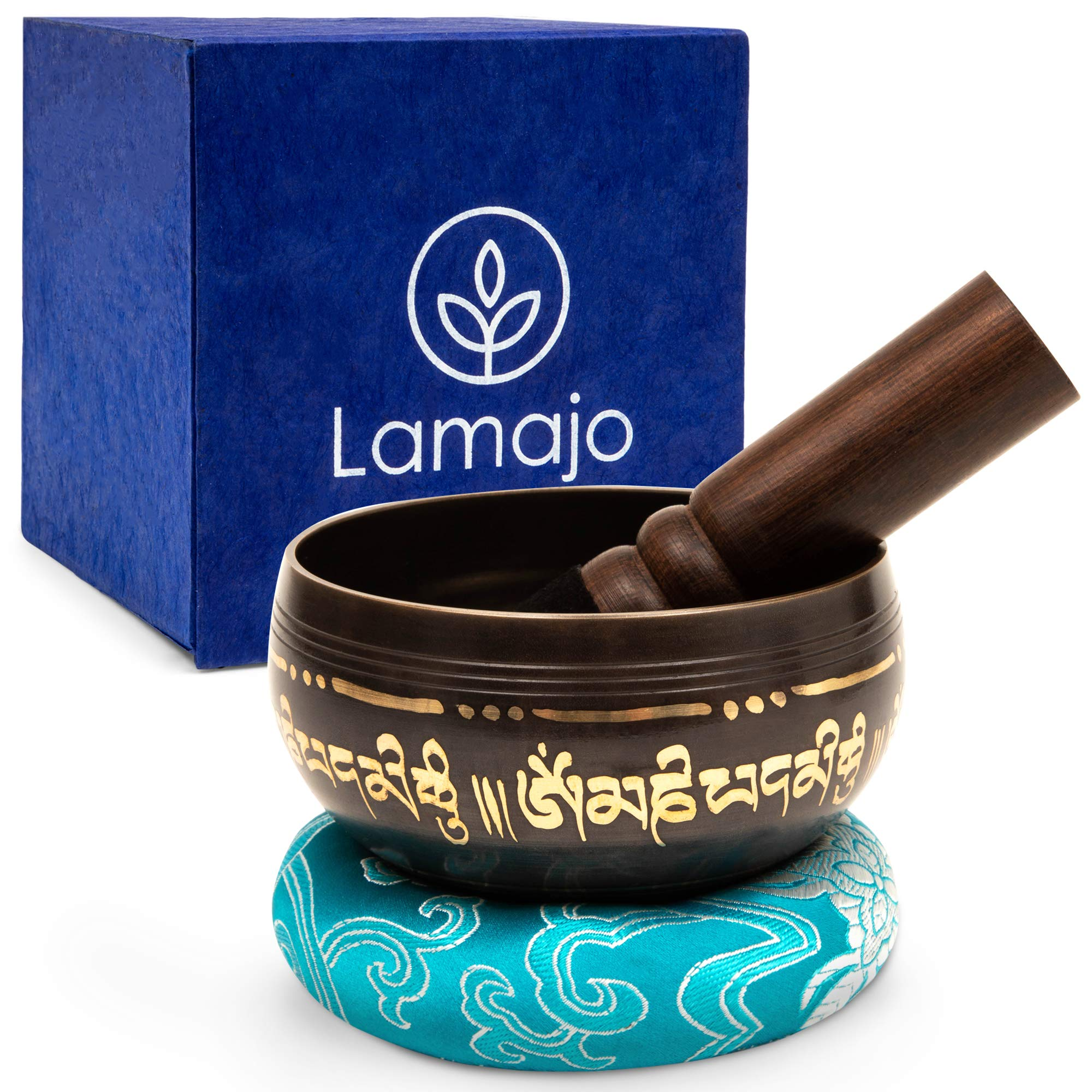 Lamajo Wellness ~ Tibetan Singing Bowl Set ~ with Mallet and Silk Cushion ~ Holistic Design ~ Musical Chiming Bowls ~ Beautiful Sound Bath Bowl Set for Meditation, Mindfulness, Chakra Healing and Yoga by Lamajo