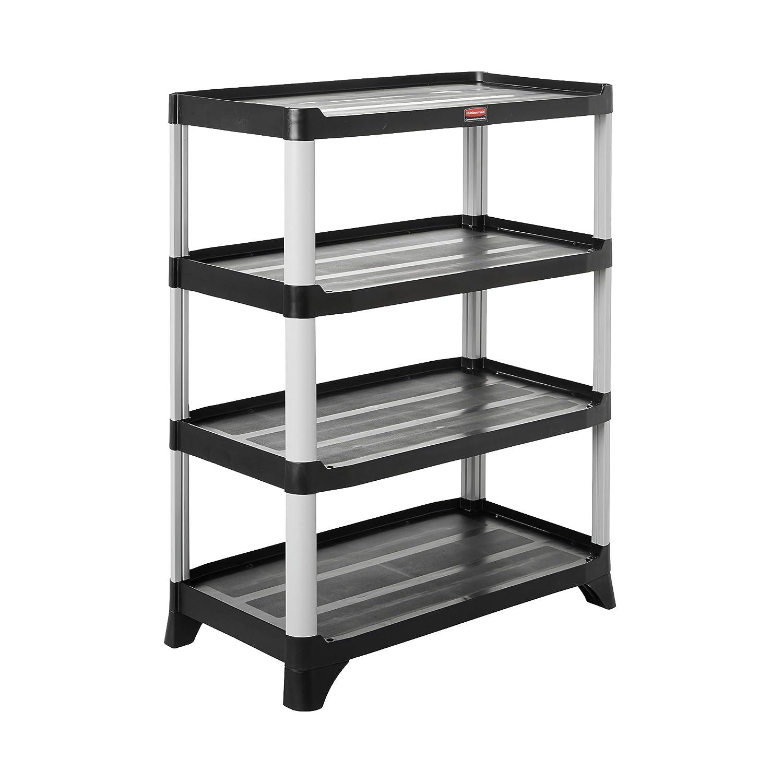 Rubbermaid Commercial Storage 4- Shelf Unit, Black