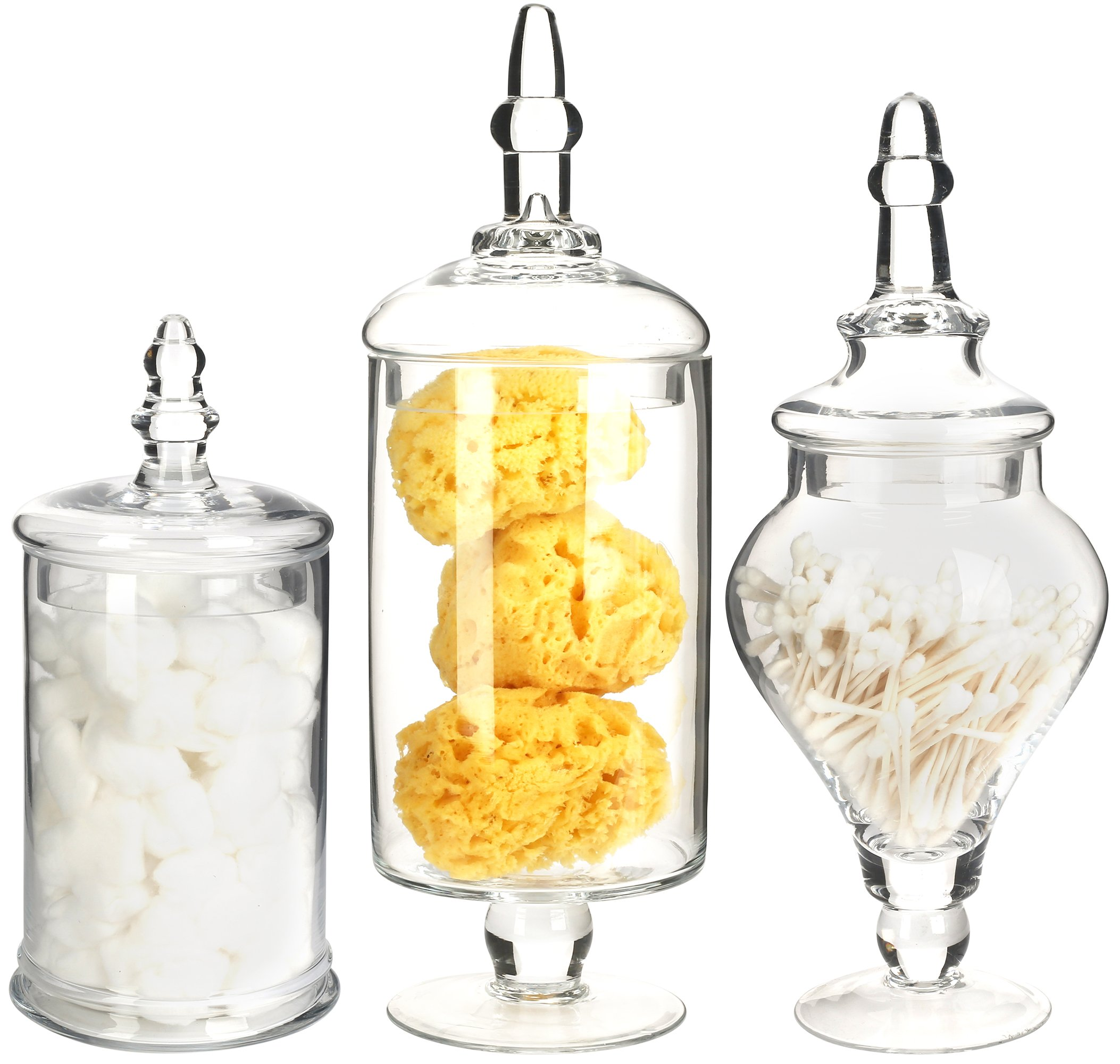Mantello Decor Glass Apothecary Jars (Clear, Medium Large, Set of 3) by Mantello