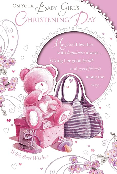 Baby girl christening greeting card christening day teddy dummy baby girl christening greeting card christening day teddy dummy gift 9 m4hsunfo