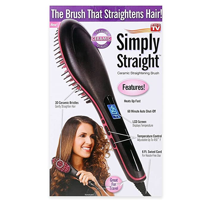 Cepillo alisador de pelo 2 en 1, calefacción cerámica eléctrica iónica, alisador rápido, regalo ideal para mujeres: Amazon.es: Belleza