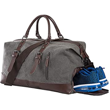 3ab84f862 Amazon.com | Weekender Bag with Shoe Compartment,Classic Canvas Leather  Duffel Bag, Overnight Carry-on Shoulder Duffel Tote Bag for Men and  Women-Grey ...
