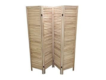 NATURAL 4 PANEL WOODEN SLAT ROOM DIVIDER PARTITION PRIVACY