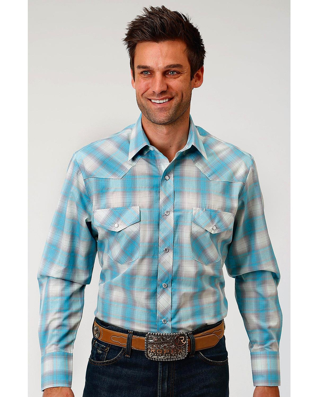 Roper Men's Turquoise Plaid Long Sleeve Western Snap Shirt Turquoise X-Large