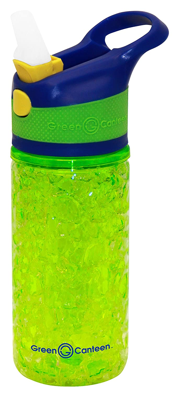 Sippy Cap and Silicone Band Green Canteen DWTCGK-400-PAA Double Wall Tritan Plastic Hydration Bottle with Freeze Crackle Gel 12 oz Pink//Aqua