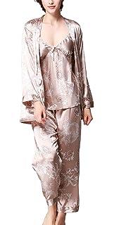 5494c5fd73728 Uniquestyle À Manches Longues Pyjama de Soie de Femme Sexy de Confort Trois- pièces