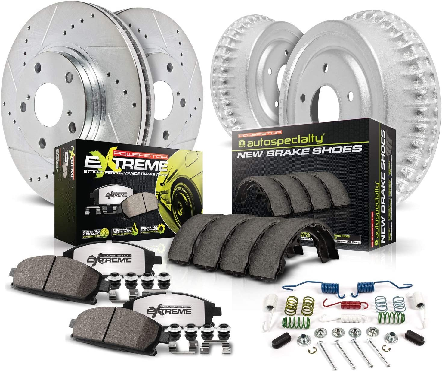 Power Stop K15441DK-26,Z26 Street Warrior Front and Rear Brake Kit-Drilled//Slotted Rotors /& Carbon-Fiber Cermaic Brake Pads