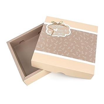 1 pieza regalo Mini cartón de cartón Präsent de caja Schön dass du da bist pequeño