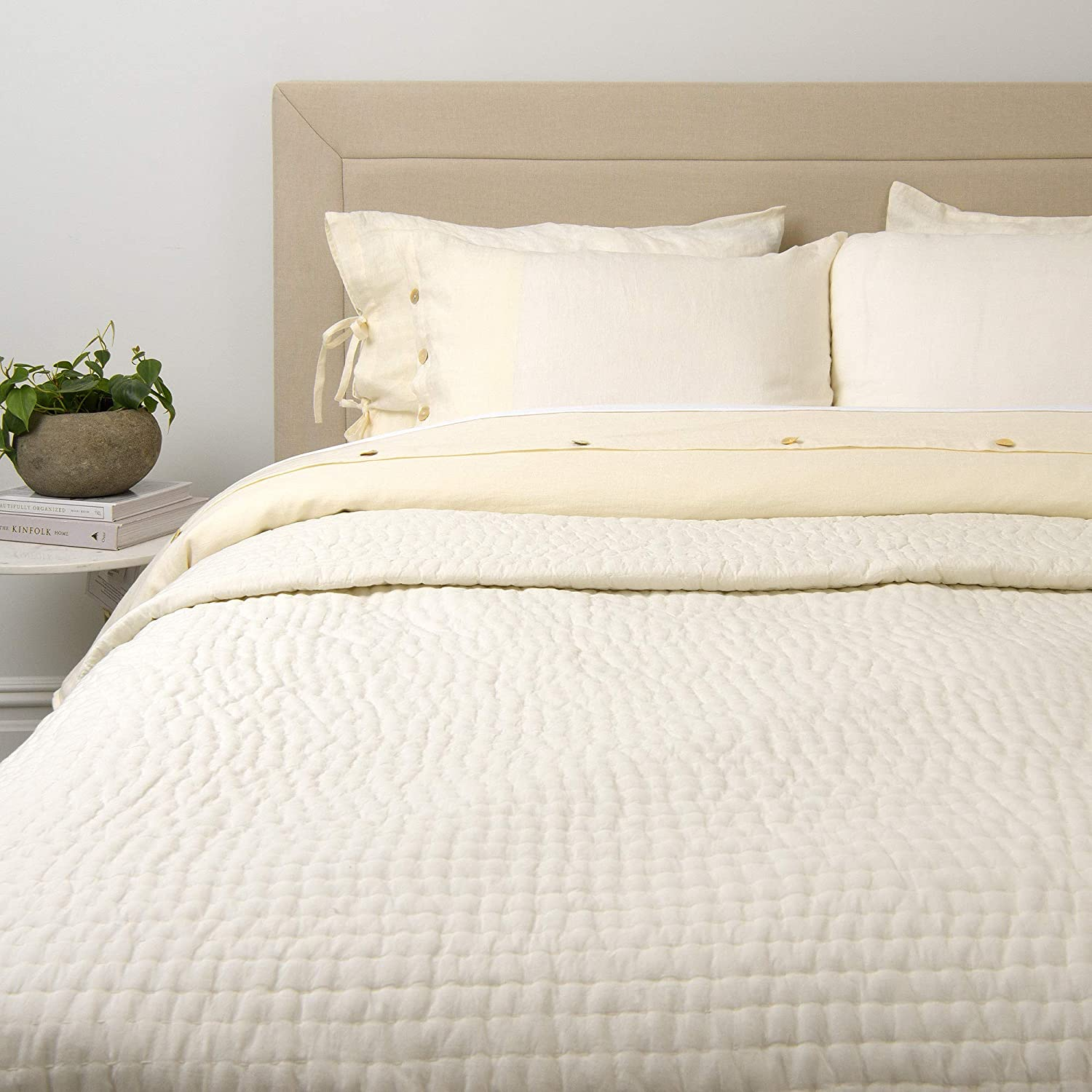 "Best Home Fashion Cotton Tufted Quilt- Casual Elegance, Lightweight and Stylish Bedding, Blanket-QUEEN-IVORY-88"" L x 92"" W"