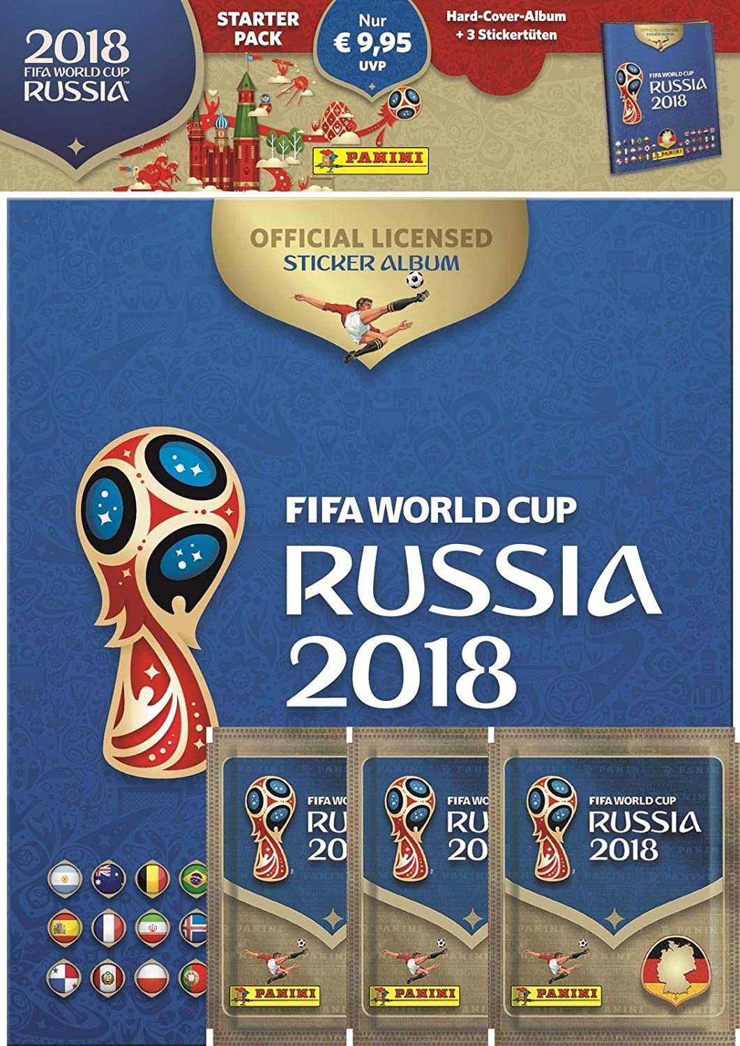 Panini 709951 FIFA World Cup Russia 2018 Pegatinas coleccionables (Starter Set, Hard Cover álbum y 3 Booster: Amazon.es: Juguetes y juegos