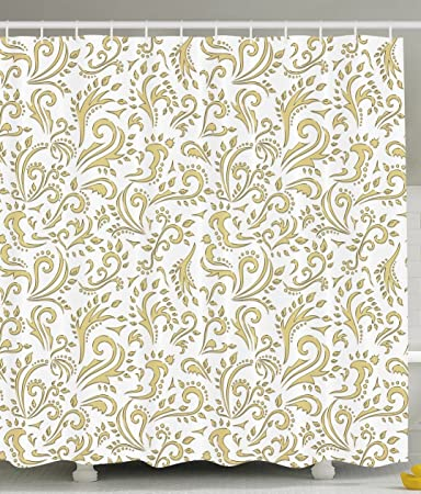 Gold Shower Curtain Cottage Decor By Ambesonne, Paisley Floral Damask  French Vintage Ornament Theme,