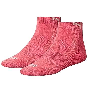6ef0e7642 Puma Sports Socks Unisex Cushioned Match Quarters Two Pair Pack - Pink UK  Size 2.5-