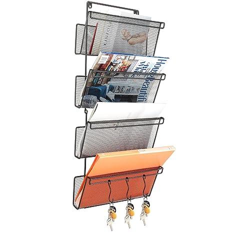 Organizador de documentos para colgar en la pared, 4 bolsillos de almacenamiento para archivadores o