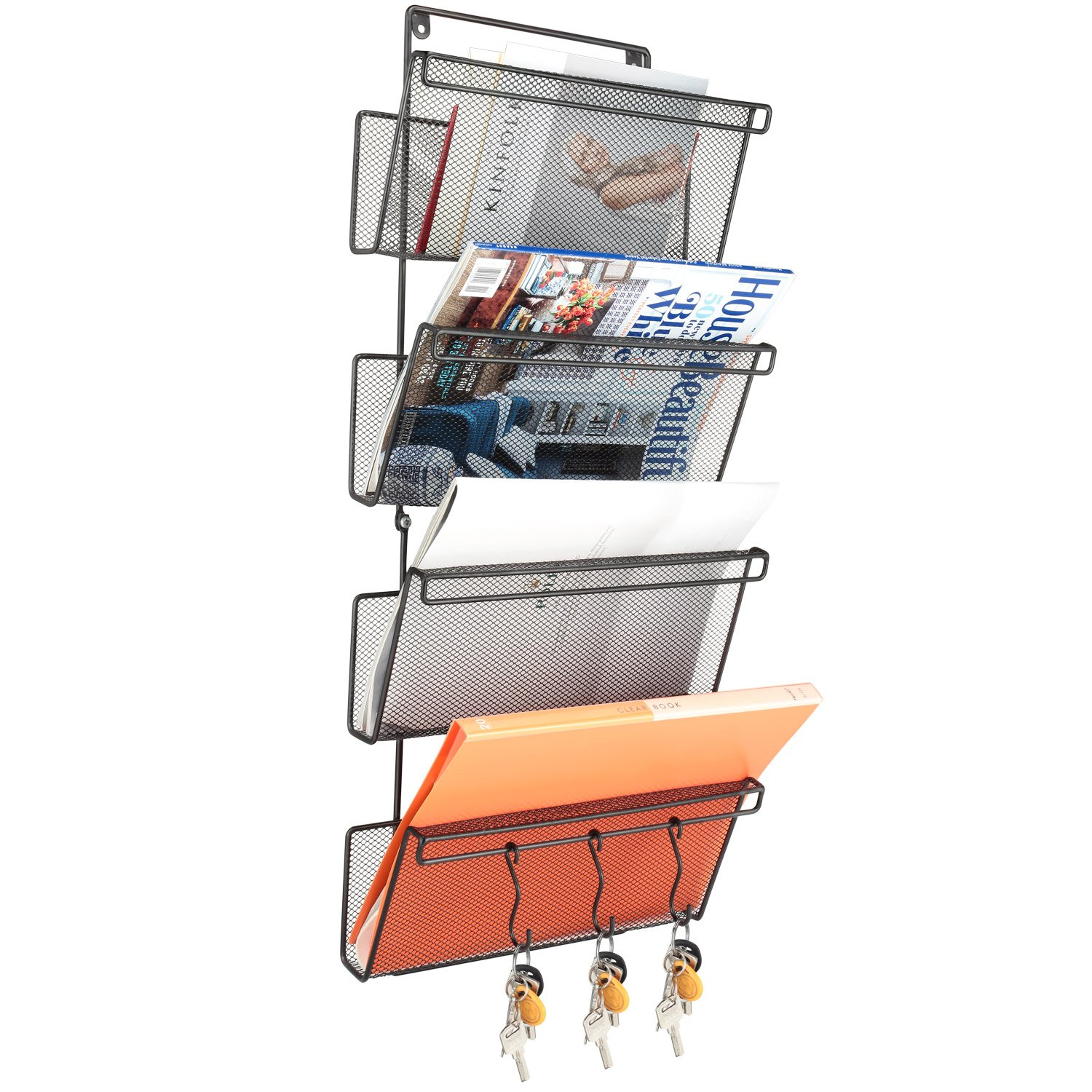 Samstar 4 Tier Hanging Wall File Organizer, Metal Mesh Wall Mounted File Holder with 3 Key Hooks for Office Home
