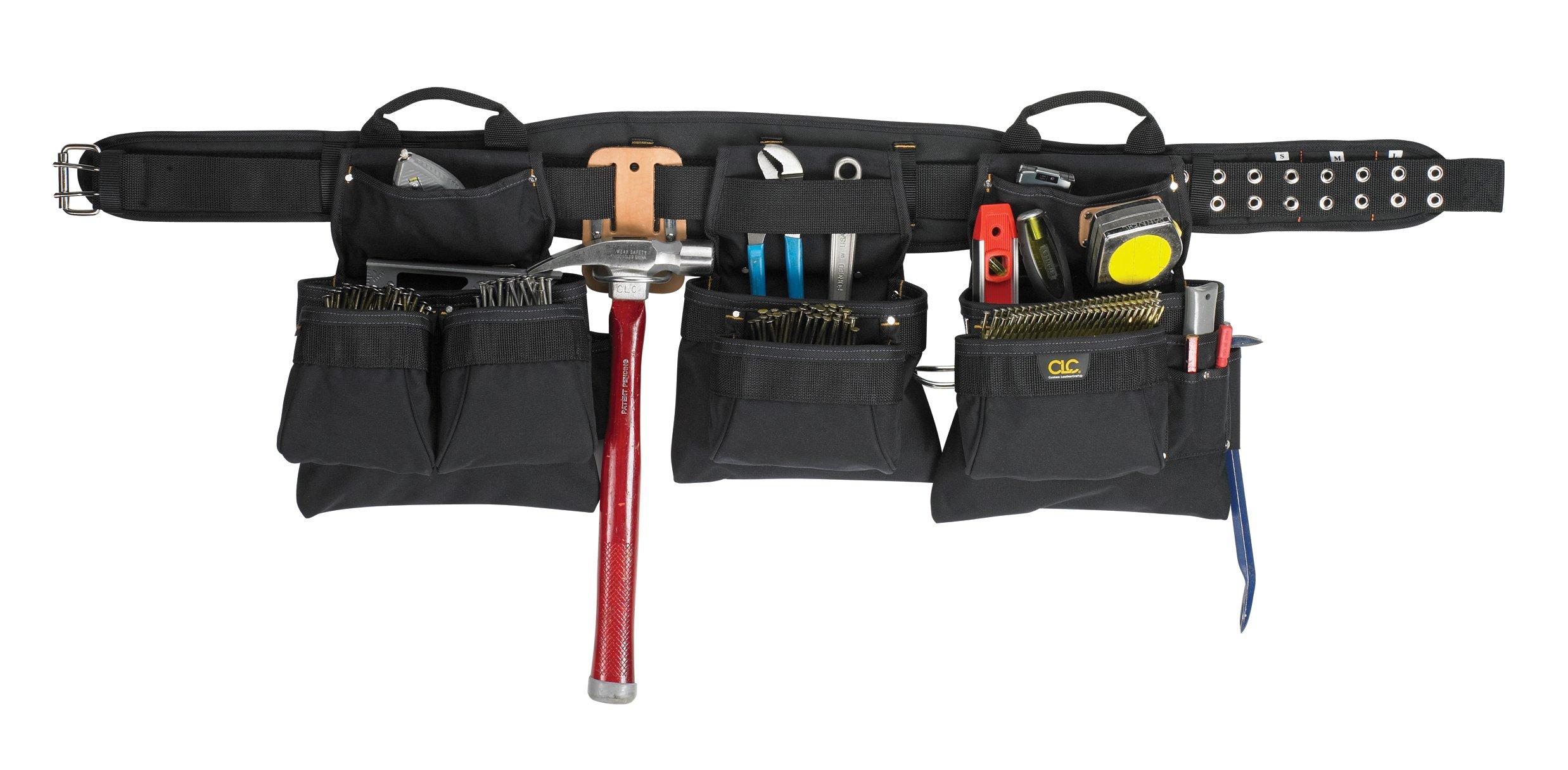 CLC Custom Leathercraft 5605 Professional Carpenters Combo Tool Belt, Black, 18 Pocket by Custom Leathercraft