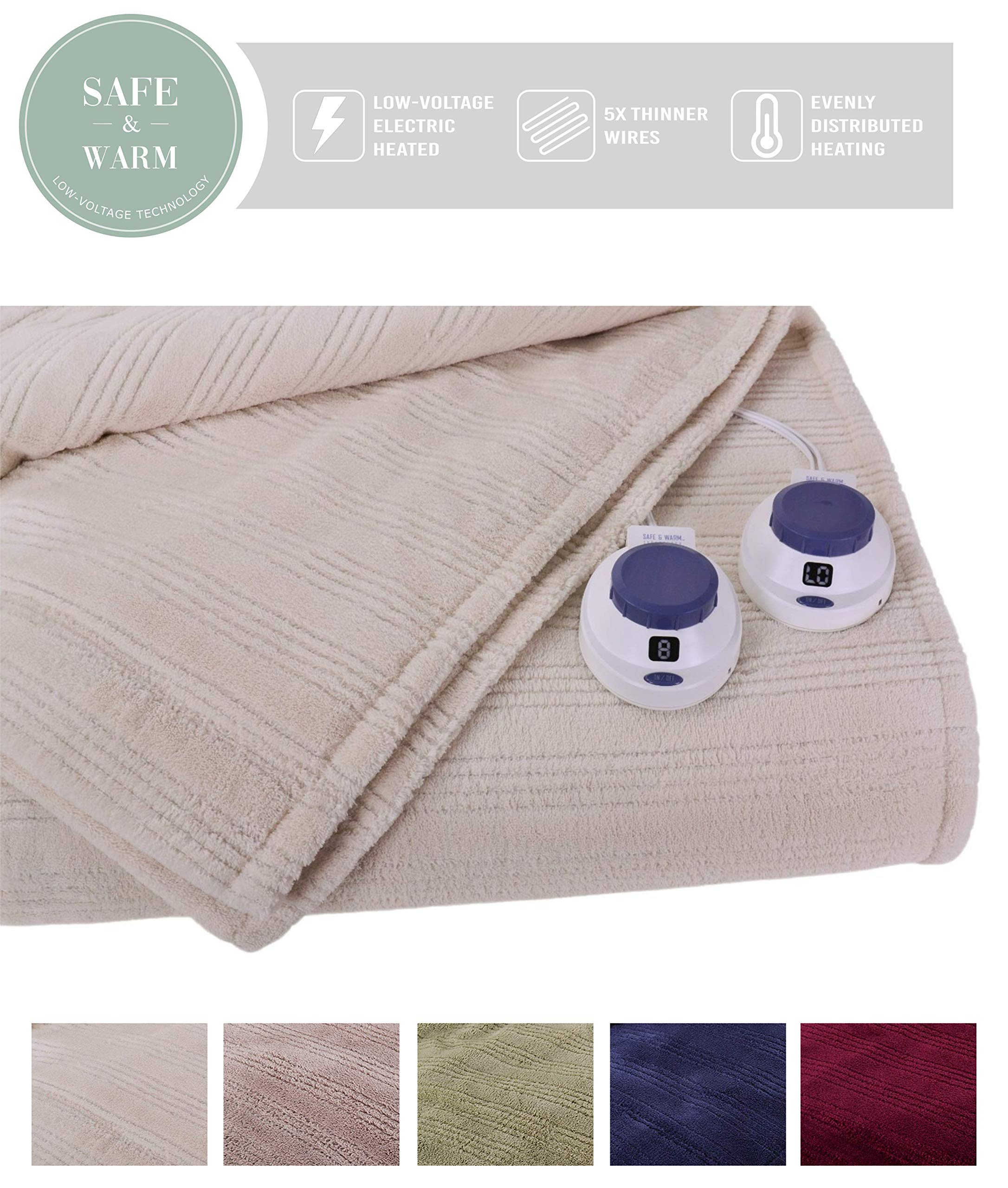 SoftHeat by Perfect Fit | Ultra Soft Plush Electric Heated Warming Blanket with Safe & Warm Low-Voltage Technology (Queen, Natural)