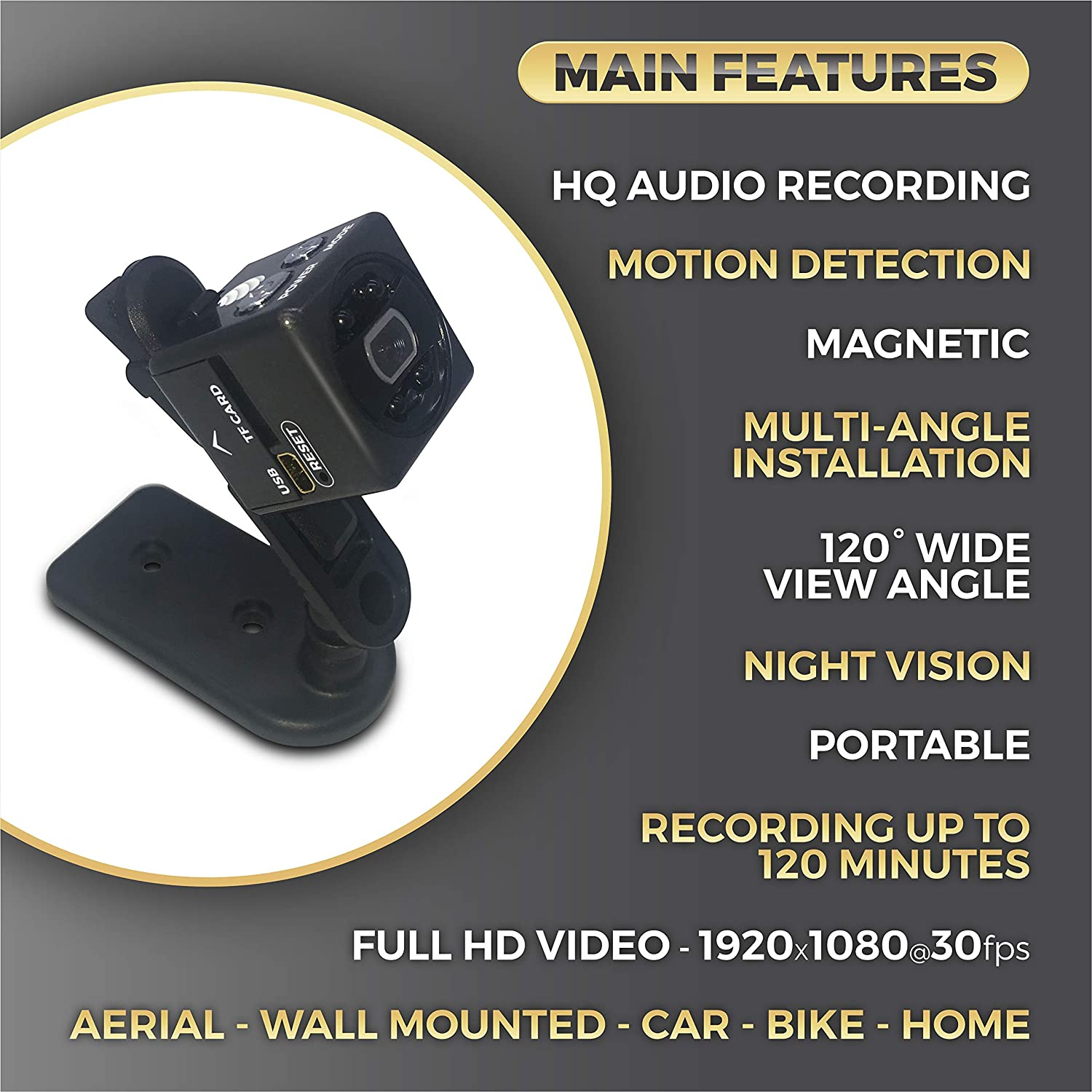 Amazon.com : Mini Hidden Camera - Magnetic Portable Body Spy Cam for Home Security with Night Vision - Motion Detection Functions and High Clarity Audio ...