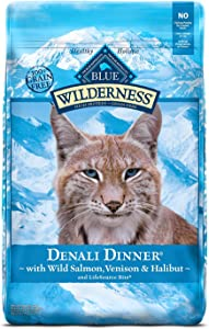 Blue Buffalo Wilderness High Protein Grain Free Natural Adult Dry Cat Food, Denali Dinner with Wild Salmon, Venison & Halibut 10lb