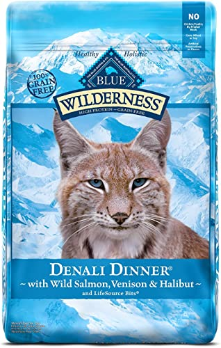 Blue Buffalo Wilderness High Protein Grain Free, Natural Adult Dry Cat Food, Denali Dinner with Wild Salmon, Venison Halibut 10lb, 10 lb 801791