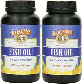 product image for Barlean's Fresh Catch Fish Oil, 250 softgels/1000 mg Orange Flavored - Pack of 2